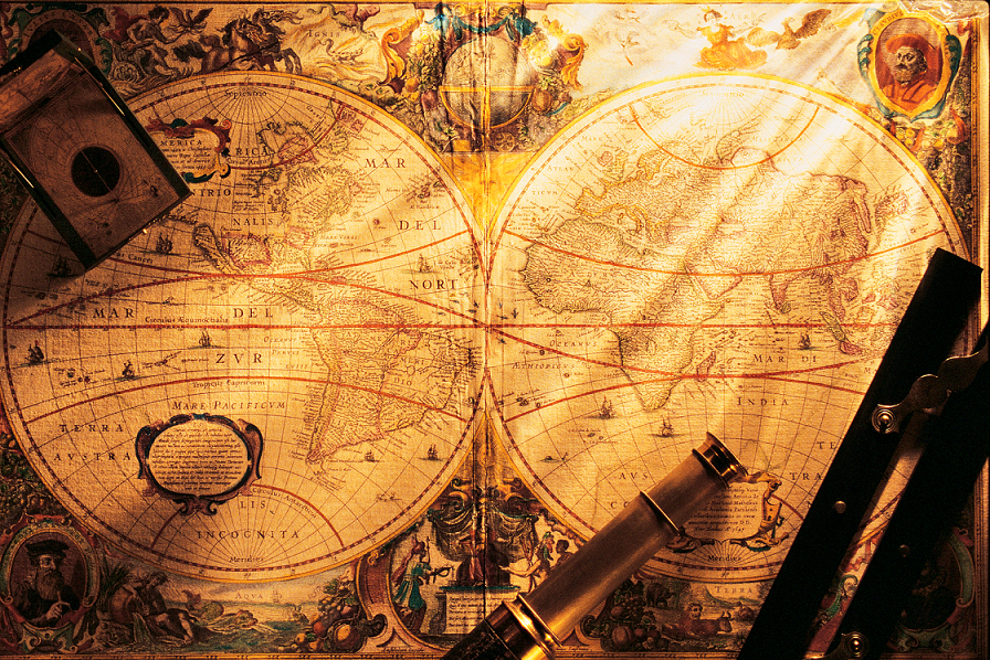 Old-Global-Map-and-Compass