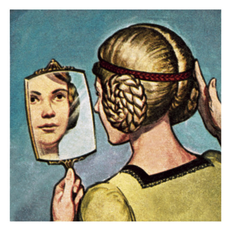 english-school-medieval-girl-looking-into-a-mirror